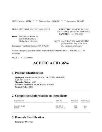 acetic acid msds Acetic acid (glacial) 100% msds (material safety data sheet) or sds, coa and coq, dossiers, brochures and other available documents quality management dossier.