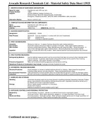 Avocado Research Chemicals Ltd - Material Safety Data Sheet ...