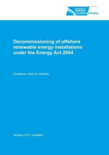 Decommissioning of offshore renewable energy ... - Gov.uk