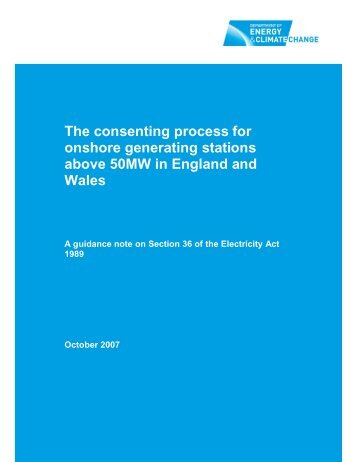 The consenting process for onshore generating stations above ...