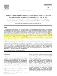 Neonatal choline supplementation ameliorates the effects ... - OneSci
