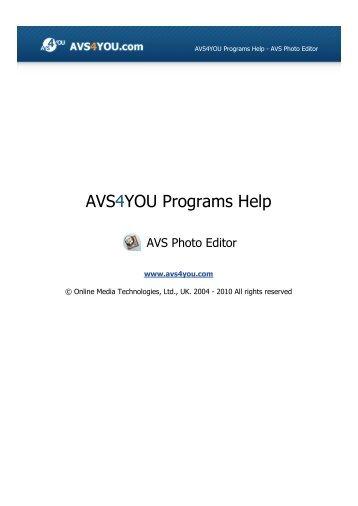 AVS4YOU Programs Help - AVS Photo Editor - AVS4YOU >> Online ...