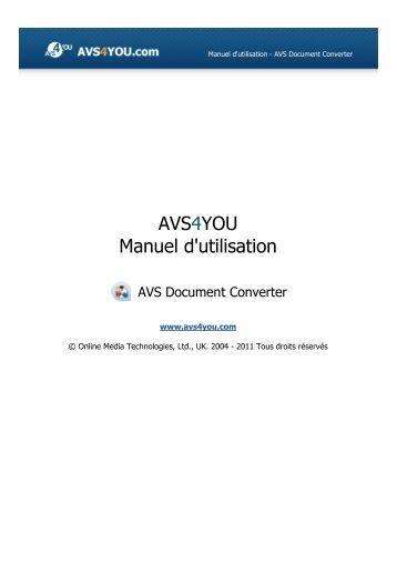 Manuel d'utilisation - AVS Document Converter - AVS4YOU ...