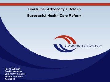 Consumer Advocacy's Role in Successful Health Care Reform