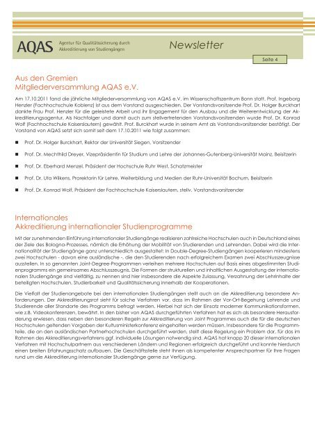 Newsletter - AQAS eV
