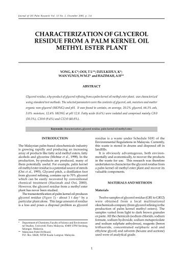 characterization of glycerol residue from a palm kernel oil methyl