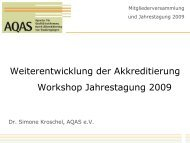 Weiterentwicklung der Akkreditierung Workshop ... - AQAS eV