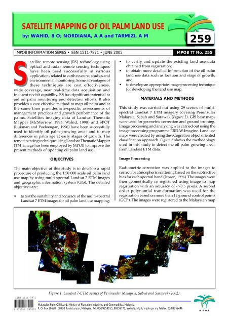 Satellite mapping of oil palm land use 259 - PALMOILIS - MPOB