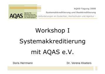Systemakkreditierung, Kloeters & Herrmann - AQAS eV