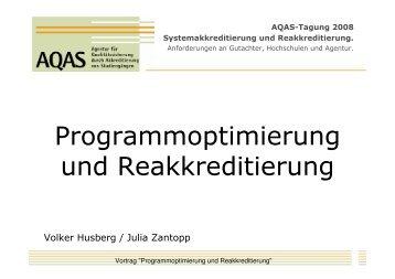 AQAS-Tagung 2008 Systemakkreditierung und Reakkreditierung.