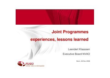 Workshop II - Joint programmes, experiences, lessons learned ...