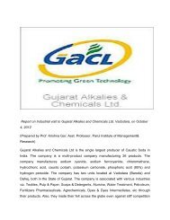 Report on Industrial visit to Gujarat Alkalies and Chemicals Ltd ...