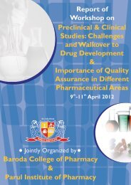 Report of Parul Workshop on Drug Development and Quality ...