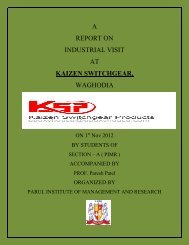 a report on industrial visit at kaizen switchgear, waghodia