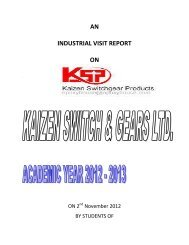 AN INDUSTRIAL VISIT REPORT ON - Parul Group of Institutes