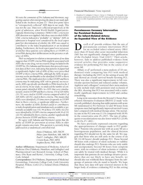 PCI for TOIRA - Appleton pdf - VCU Cardiology Fellows' Website