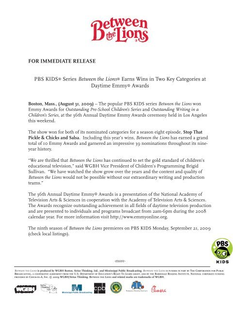 Between the Lions Emmy Press Release - PBS Kids