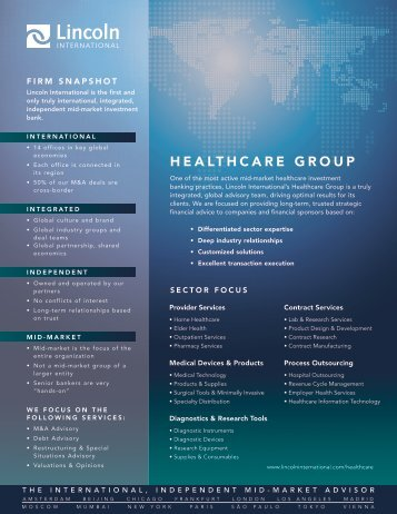 HEALTHCARE GROUP - Lincoln International