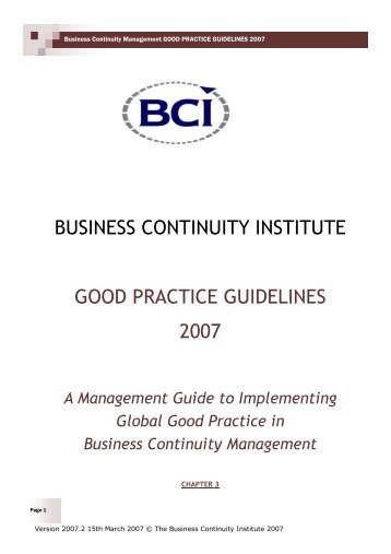 business continuity institute good practice guidelines 2007