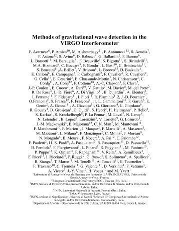 Methods of gravitational wave detection in the VIRGO Interferometer