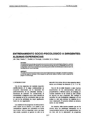 ENTRENAMIENTO SOCIO-PSICOLOGICO A DIRIGENTES ...