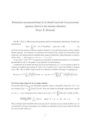 Estimation non-paramétrique de la densité spectrale d'un processus ...