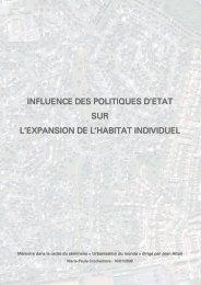 influence des politiques d'etat sur l'expansion de l'habitat individuel