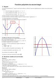 Fonction polynôme du second degré ) )