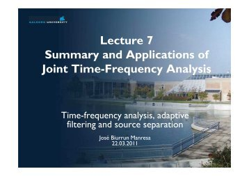 Lecture 7 ? Summary and Applications of JTFA From the ...
