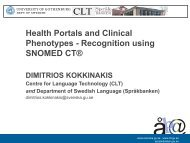 SNOMED CT - Department of Health Science and Technology