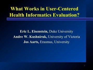 What Works in User-Centered Health Informatics Evaluation?