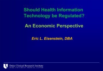 Should Health Information Technology be Regulated? An Economic ...