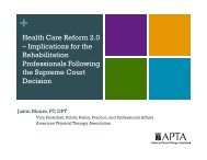 Health Care Reform 2.0 - ADVANCE for Physical Therapy & Rehab ...