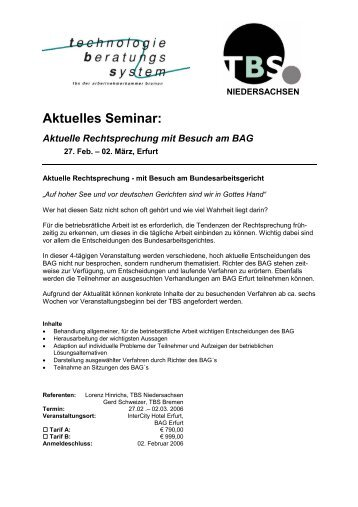 Aktuelles Seminar: - bei der Arbeitnehmerkammer Bremen