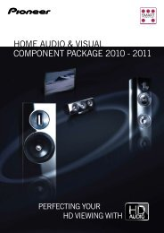Home Audio & VisuAl Component pACkAge 2010 - 2011 - Pioneer