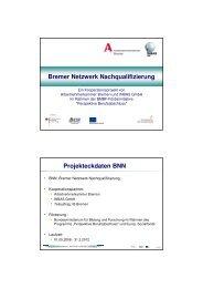 Projekteckdaten BNN - bei der Arbeitnehmerkammer Bremen