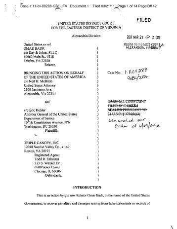 The lawsuit was filed in 2011 by Omar Badr - Corporate Crime ...