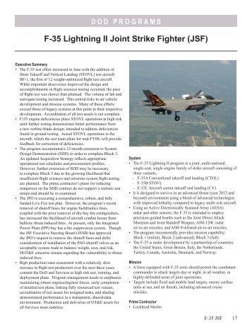 F-35 Lightning II Joint Strike Fighter (JSF) - DOT&E