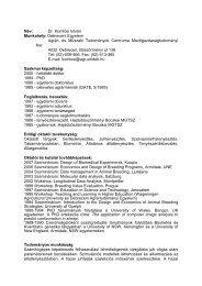 Név: Dr. Komlósi István Munkahely: Debreceni Egyetem Agrár- és ...