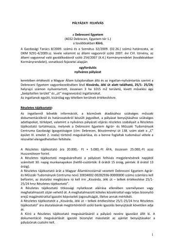 A rövidített pályázati felhívás letölthető ITT. - Debreceni Egyetem Agrár