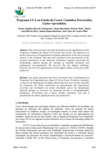 Programa UCA no Estado do Ceará: Caminhos Percorridos,Lições ...