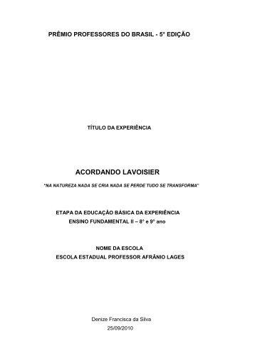 Fundamental II - 2011 - Acordando Lavoisier - Portal do Professor