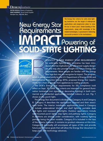 The Energy Star Criteria For Solid-state light - Power Electronics