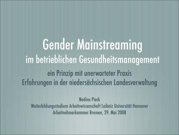 Gender Mainstreaming - bei der Arbeitnehmerkammer Bremen