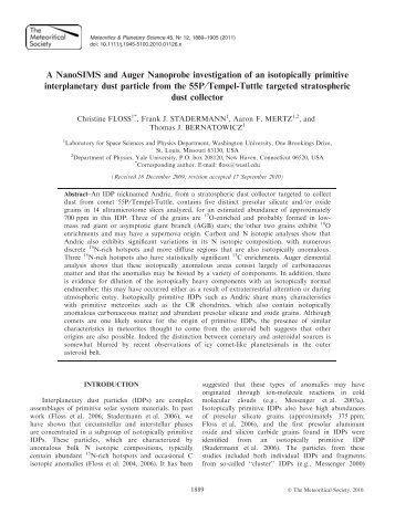 A NanoSIMS and Auger Nanoprobe investigation of an isotopically ...