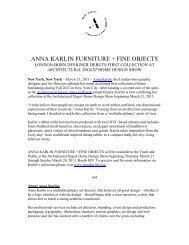 ANNA KARLIN FURNITURE + FINE OBJECTS - Press Room