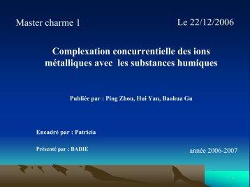 Complexation concurrentielle des ions métalliques avec les ...