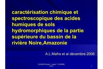 caractérisation chimique et spectroscopique des acides humiques de
