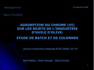 ADSORPTION DU CHROME (VI) SUR LES REJETS DE L ...