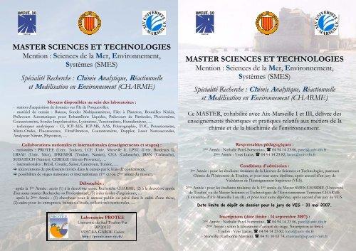 master sciences et technologies master sciences et technologies